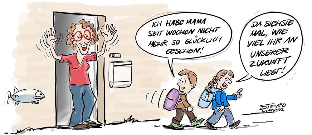 Cartoon Karikatur Comic Schulbeginn nach Corona Lockdown