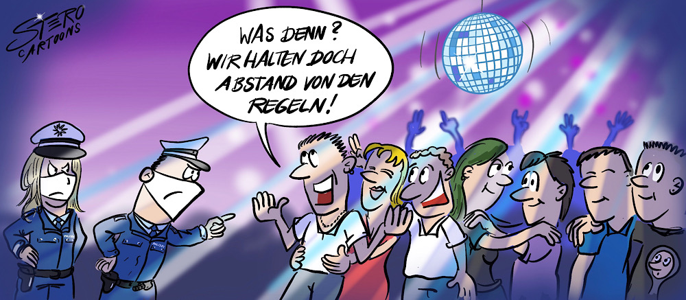 Cartoon-comic: Polizei in einer disco bei illegaler party ohne mundschutz, maske und AbstandSregeln.