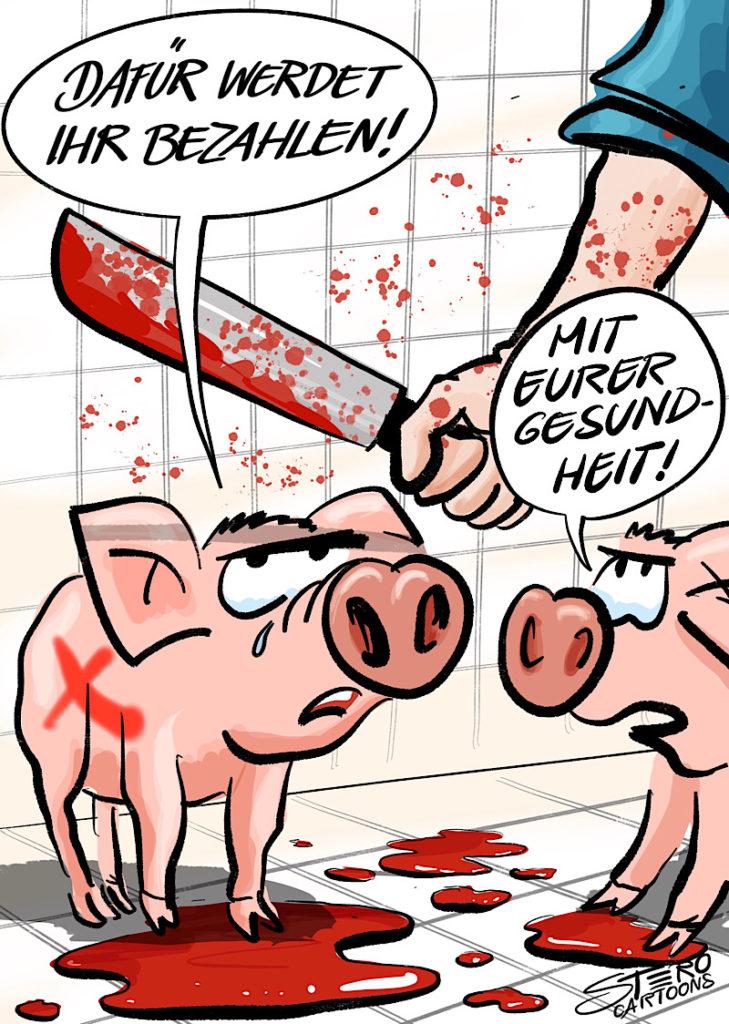 """Cartoon-Karikatur-Comic: Zwei Steine stehen im Schlachthof - kurz vor der Schlachtung. Das eine sagt mit Tränen in den Augen: """"Dafür werdet ihr bezahlen!"""". DAs andere ergänzt: """"Mit eurer Gesundheit!""""Damit spielen Sie auf die ungesunde Wirkung von Schweinfleisch auf den menschlichen Organismus an."""