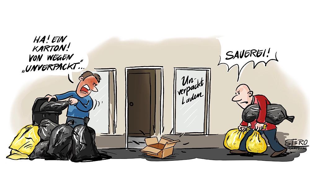 Cartoon-Comic-Karikatur: Vor einem Unverpacktladen beschweren sich Anwohner, die mehrere Müllsäcke tragen über einen einzelnen Karton der vor dem Eingangsbereich des Unverpacktladens steht. Ein klassischer Fall von Doppelmoral: Wasch mir den Pelz, aber mach mich nicht nass!