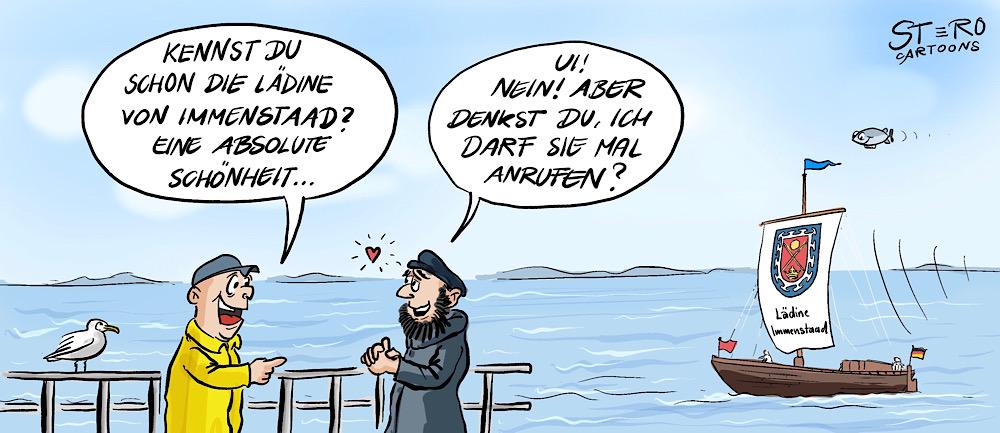 Cartoon-Comic-Karikatur: ein Segler erzählt einem befreundeten Seemann begeistert von der Lädine. Dieser meint irrtümlich es handelt sich um eine hübsche frau und möchte sie gerne anrufen und daten. Die Lädine ist ein historischer Lastensegler, der nur vor dem Wind Segeln kann. Bei flaute wird gerudert oder gestakt.
