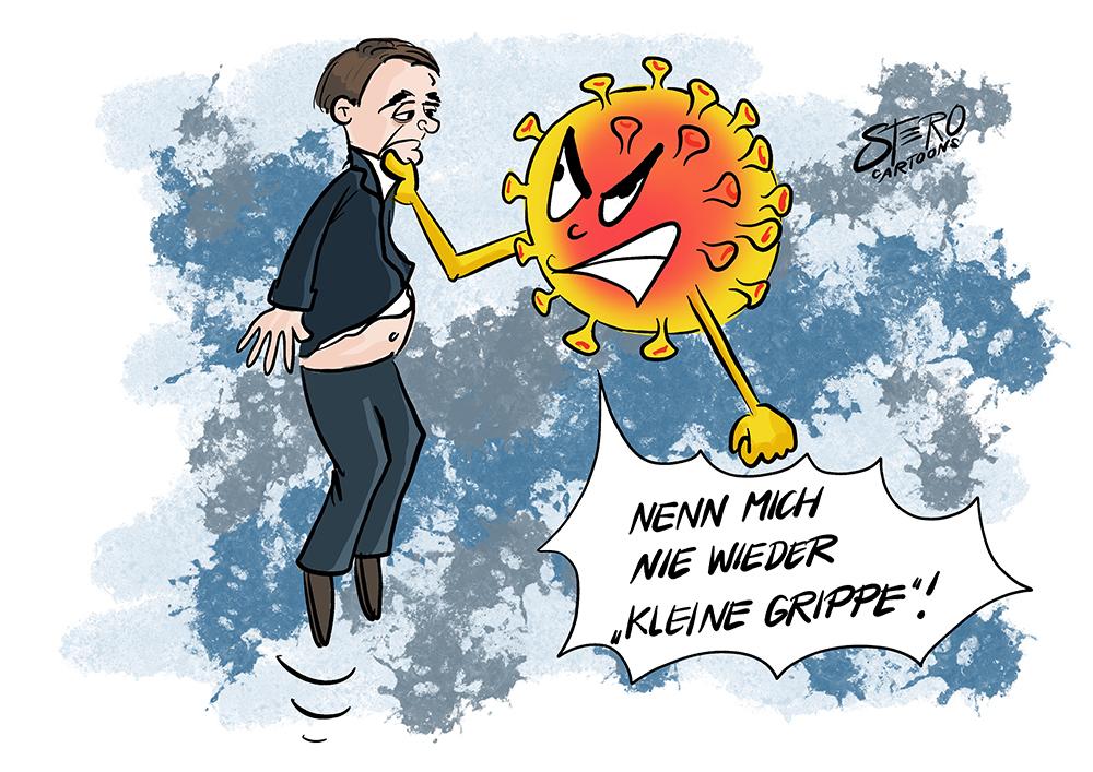Cartoon-Comic: Der Coronavirus packt JAir Bolsonaro am Kragen. Jair Bolsonaro hat Corona