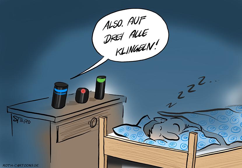 """cartooon-comic-bild: Ein Mann schläft in seinem Bett. Auf dem Nachttisch stehen drei Sprachsteuerungen und sagen: """"Auf drei, alle klingeln."""""""
