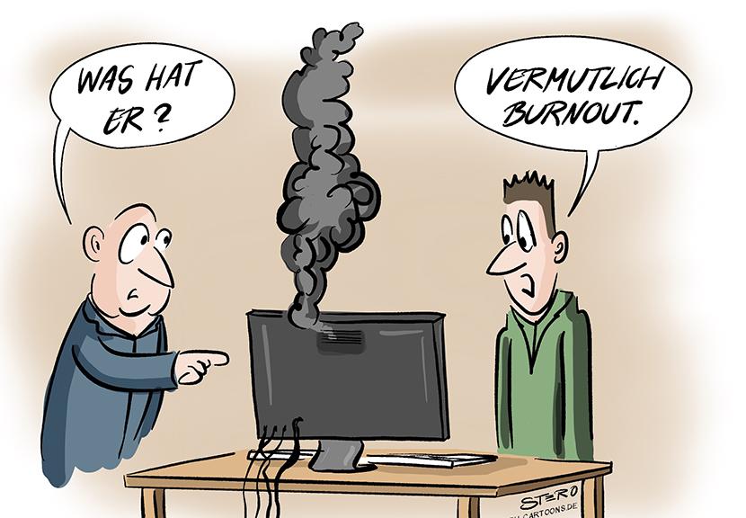 Cartoon-Comic-Bild: Zwei Männer stehen um einen qualmenden Computer. Sie vermuten Burn Out als Ursache.