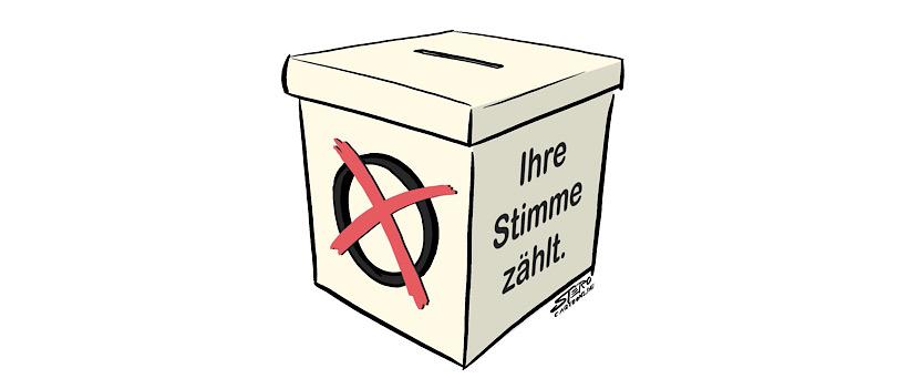 Bild-zeichnung von einer Wahlurne-ballotbox