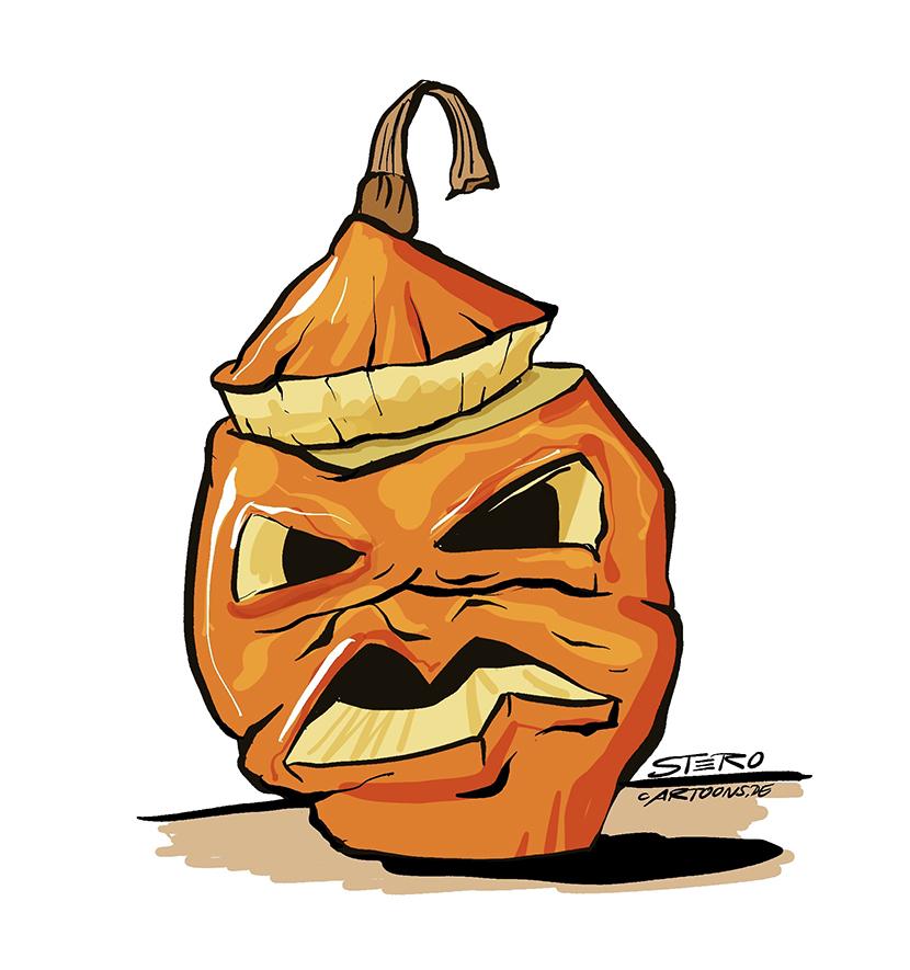 Zeichnung, Illustration, Cartoon, Comic, Clipart von einem alten Halloween-Kürbis/Drawing of an old Halloween pumpkin