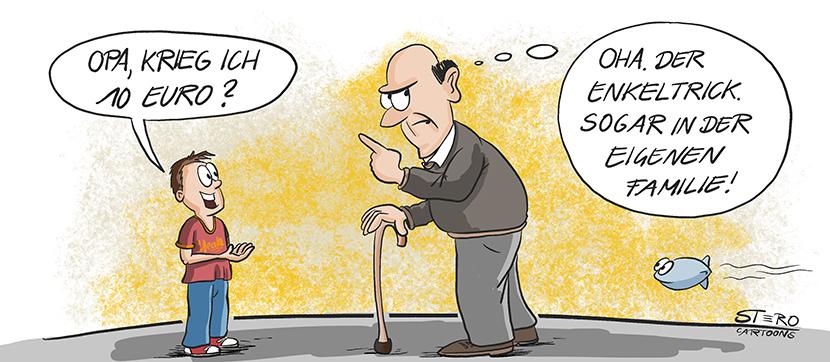 Bild-Comic-Cartoon: Ein Kind bittet Opa um Geld. Er denkt. Enkeltrick, sogar schon in der eigenen Familie.
