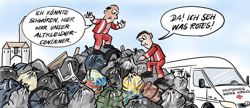Cartoon-Comic-Karikatur: Zwei Mitarbeiter des deutschen Roten Kreuzes stehen auf einem Müllberg durch illegale Müllentsorgung und suchen den Altkleidercontainer. Müll im Altkleidercontainer.