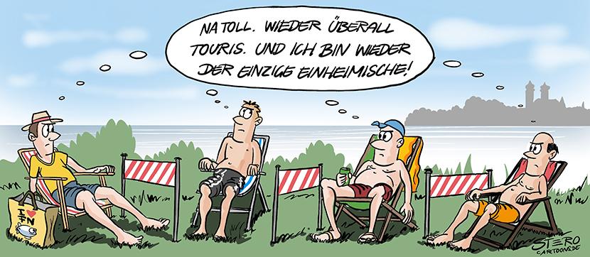 Cartoon-Comic-Karikatur: Mehrere Männer in Badekleidung sitzen im Liegestuhl und denken der jeweils andere ist der Tourist.