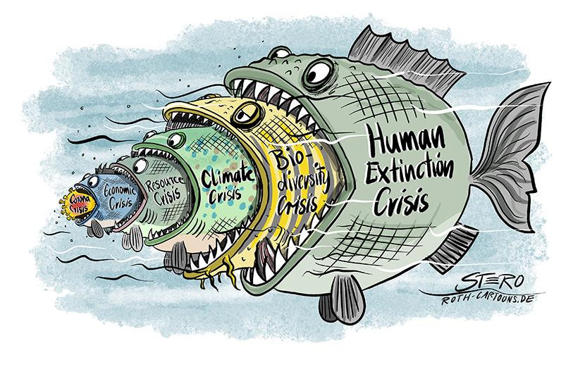 fish eats fish. Ein Cartoon bei dem ein Fisch den  anderen Frisst. Nach der Coronakrise könnte kommen die Wirtschaftskrise, danasch die Ressourcenkrise, dann die Klimakrise, dann der Verlust der Biodiversität die dann im Aussterben der menschlichen Rasse mündet (humen extinction).