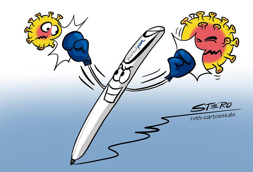 Cartoon: Protect Pen von messmer pen. Stift mit antiviraler Oberfläche.