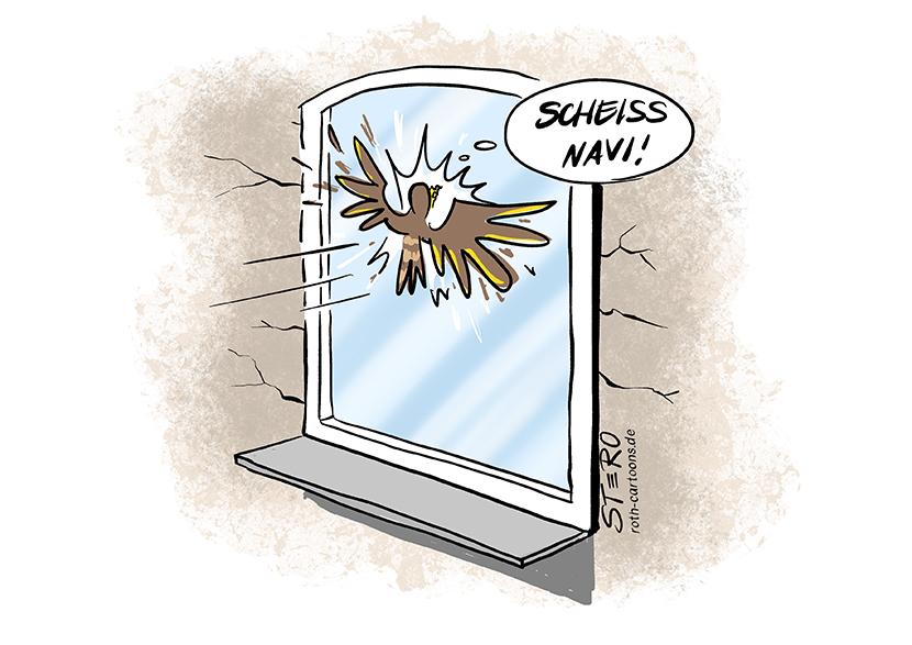 """Cartoon-Comic zum Vogelschutz: Ein Vogel fliegt gegen eine Fensterscheibe und denkt: Scheiss Navi""""!"""