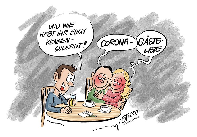 Cartoon-Comic zur Corona-Gästeliste: Ein Mann fragt ein verliebtes Paar, wie sie sich kennengelernt haben. ASie antworten: Corona-Gästeliste.