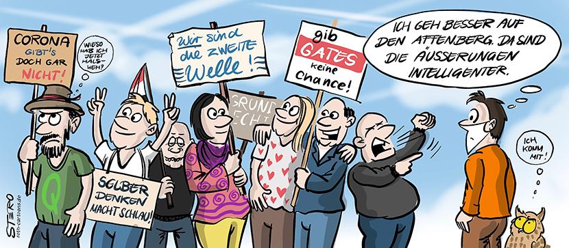 Cartoon-Comic: Coronademo mit Coronaleugnern ohne Mundschutz und Maske mit Nazi