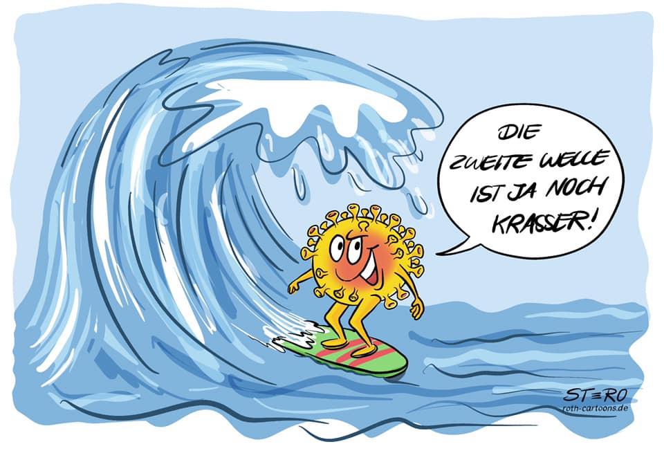 Cartoon Comic zur zweiten CoronaWelle. Ein Coronavirus als Wellensurfer, der sich über die zweite Welle freut.