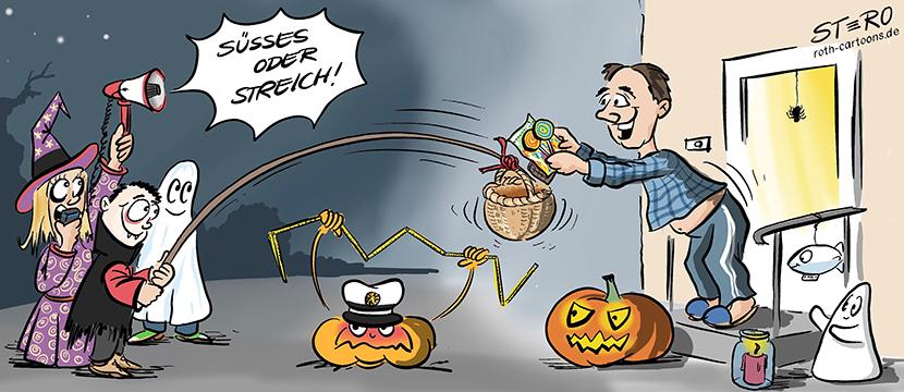 """Cartoon-Comic: Drei verkleidete Kinder machen """"Süsses oder Streich"""" an Halloween. Da die Coronapandemie noch in vollem Gange ist, haben Sie ihr Körbchen an einen langen Stecken gebunden. Happy Halloween!"""