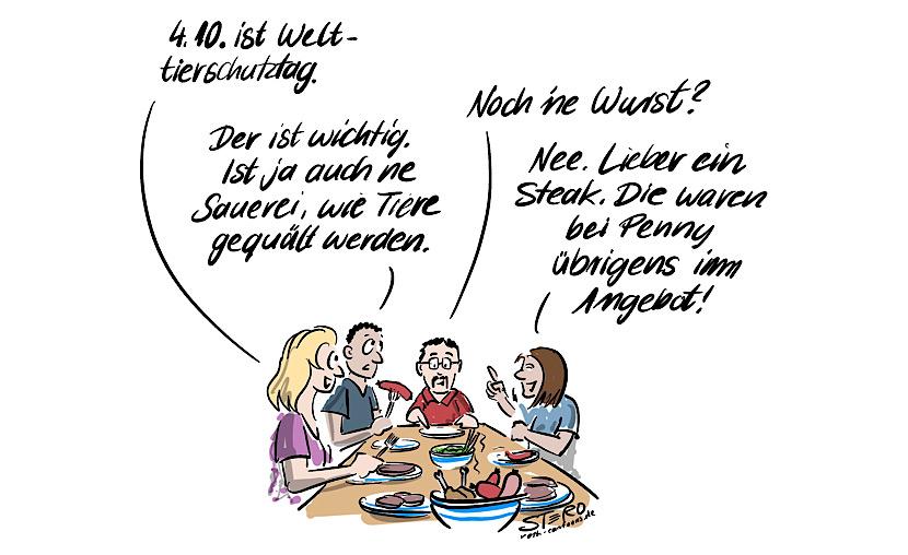 Cartoon-comic-bild: #. Menschen am tisch essen fleisch und reden über den welttierschutztag.
