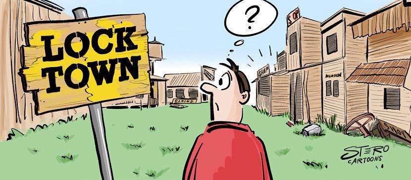 Cartoon-Comic-Bild zum Lockdown light wegen Corona. Verwaiste Innenstädte sind das bisherige Ergebnis der undurchdachten Politik.