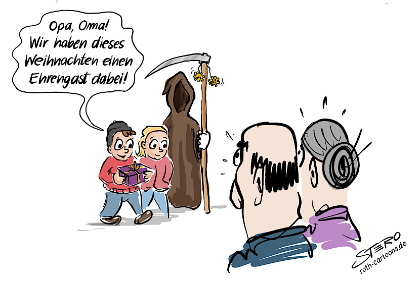 cartoon-comic-bild: Weihnachten und Corona - Enkel besuchen Opa und Oma und bringen den Tod mit. An seiner Sense baumelt der Coronavirus.