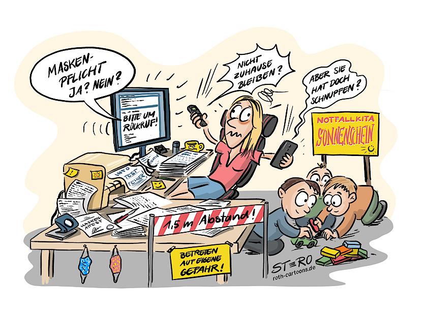 Cartoon Comic-Wimmelbild: Eine Frau Personaler sitzt verzweifelt im Büro mit zwei Telefonen in der Hand und versucht das Chaos verursacht durch Corona im Haus zu lichten. Im Hintergrund hat sie noch eine Notfall-Kinderbetreuung eingerichtet.