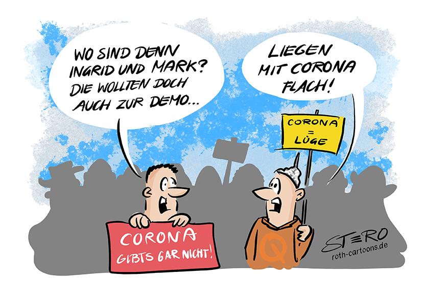 Cartoon-Comic-Bild: Zu Coronaleugner und Coronademos. Ein Demonstrationsteilnehner fragt wo die anderen sind. Die Antwort seines Begleiters: Die liegen mit Corona flach.