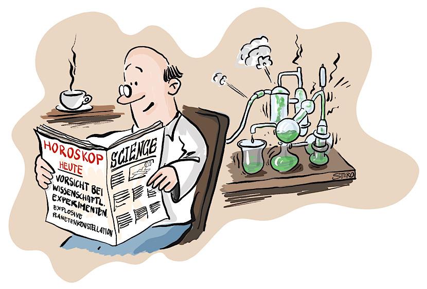 """Cartoon-Comic zu Horoskop. Ein Mann, der Wissenschaftler ist, liest in seinem Horoskop"""" Heute Vorsicht bei Experimenten."""" Und hinter ihm kollabiert gerade sein Experiment."""
