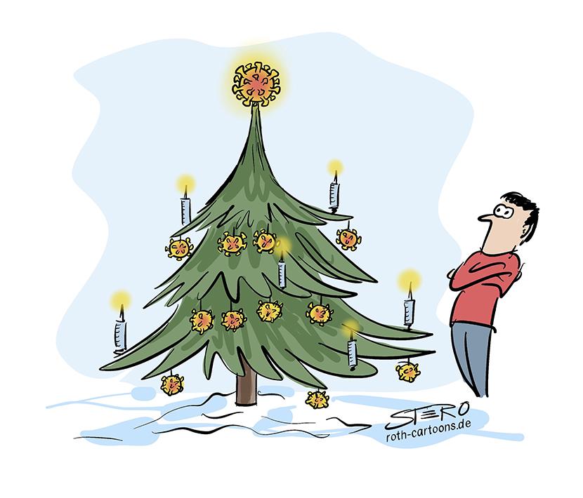 Weihnachten und Corona Cartoon-Comic: Eine Person steht vor einem geschmückten Weihnachtsbaum. Dieser ist anstelle von Christbaumkugeln mit Coronaviren und Spritzen mit Impfstoff geschmückt.