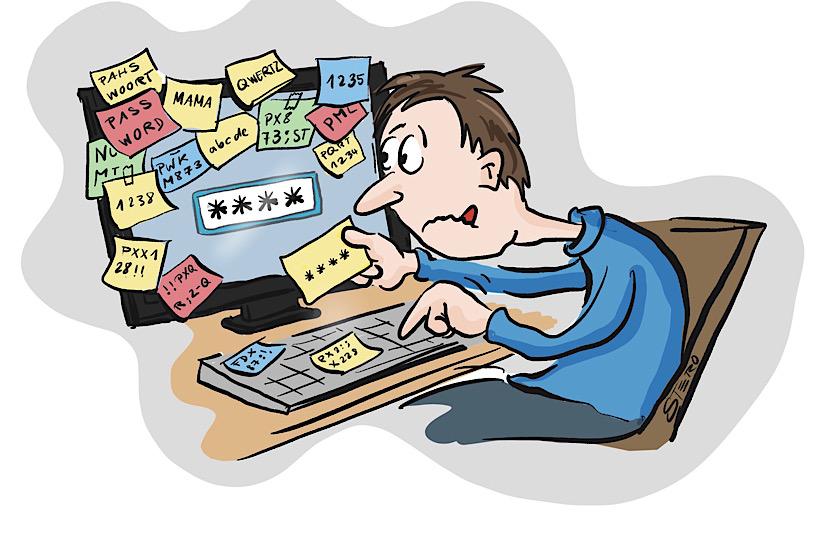 Cartoon-Comic zu Passwort. Ein Mann sitzt vor seinem Computer, dessen Bildschirm mit Postits und Notizzetteln zugeklebt ist und gibt das Passwort **** ein.