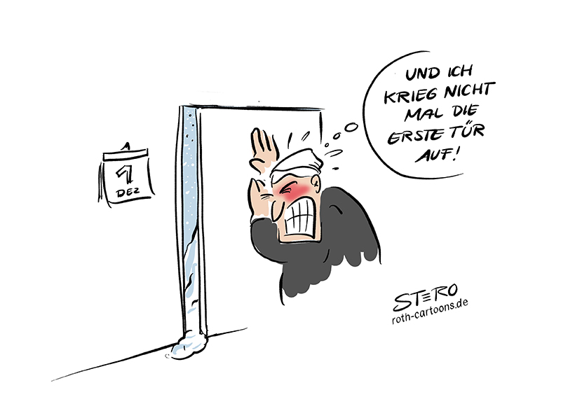 Cartoon Comic Bild: Ein Mann versucht am 1. Dezember die Haustür/das erste Türchen zu öffnen. Doch starker SChneefall hat die Tür blockiert.