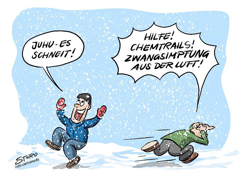 Cartoon-Comic-Bild: Es schneit im Corona-Winter. Ein Mann freut sich und ruft: Es schneit! ein anderer rennt schreiend davon, weil er denkt, dass es sich bei den Schneeflocken um Chemtrails und Zwangsimpfung handelt. Er hängt wohl einer der vielen Verschwörungsideologien an.