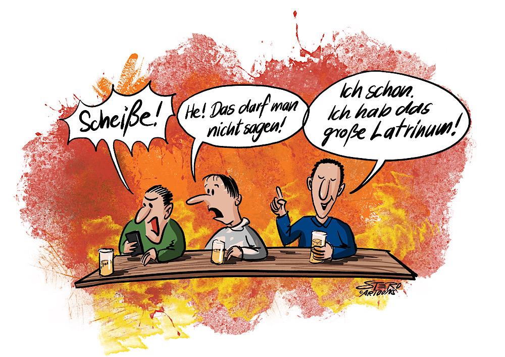 """Cartoon zu Latein, Latinum und Fäkalsprache: 3 Menschen sitzen am Tisch. Eine Person flucht """"Scheiße"""". Die zweite Person sagt: Das darfst du nicht sagen!. Die dritte sagt stolz: Ich schon ich habe das große Latrinum."""