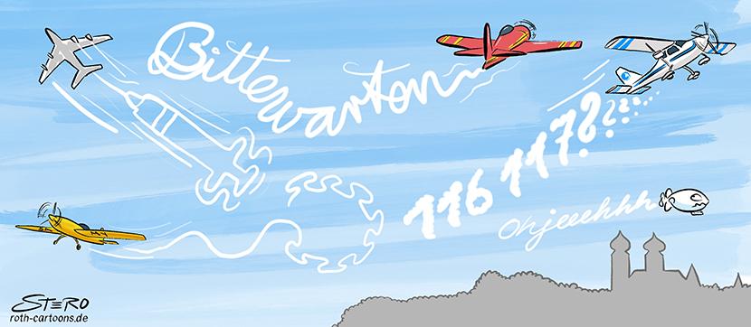 Cartoon-Comic zur Impfstrategie der Bundesregierung. Dargestellt durch Flugzeuge, die Symbole oder Texte durch Kondensstreifen an den Himmel schreiben. 116117, die Nummer gegen Coronakummer und Bitte warten...