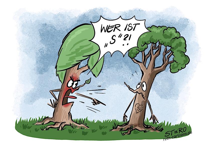 Cartoon-Comic zur Eifersucht. ein Baum hat ein in die Rinde geritztes Herz mit einem S. Seine Frau frag t ihn wütend und eifersüchtig: Wer ist S?