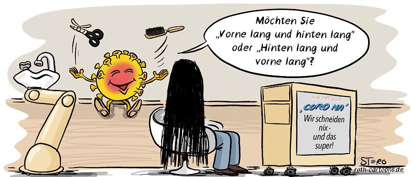 Cartoon-comic zu Coronafrisuren: Eine Person ist beim Friseur und wird vo Friseur coronavirus gefragt: Vorne lang und hinten lang?