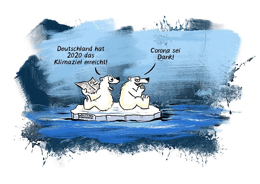 Cartoon zum Klimawandel: Deutschland hat aufgrund der Coronabeschränkungen und des Lockddowns das Klimaziel erreicht. Zwei Eisbären reden darüber auf einer Eisscholle.
