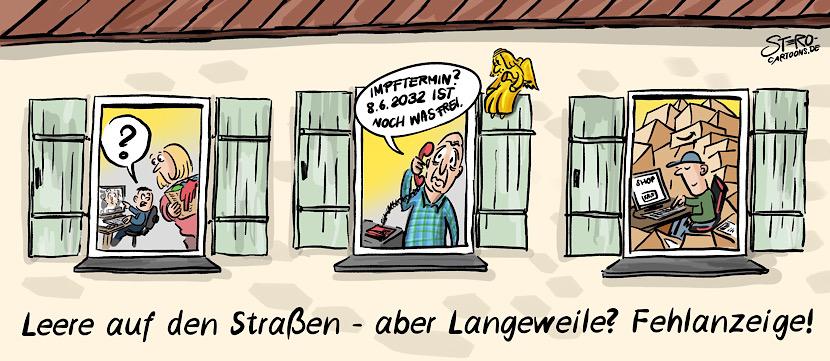 Cartoon: Blick in Wohnungen: Ein Kind mit Mutter beim homeschooling, ein Opa der versucht einen Impftermin zu bekommen und ein Junge, der übers Internet bei amazon einkauft.
