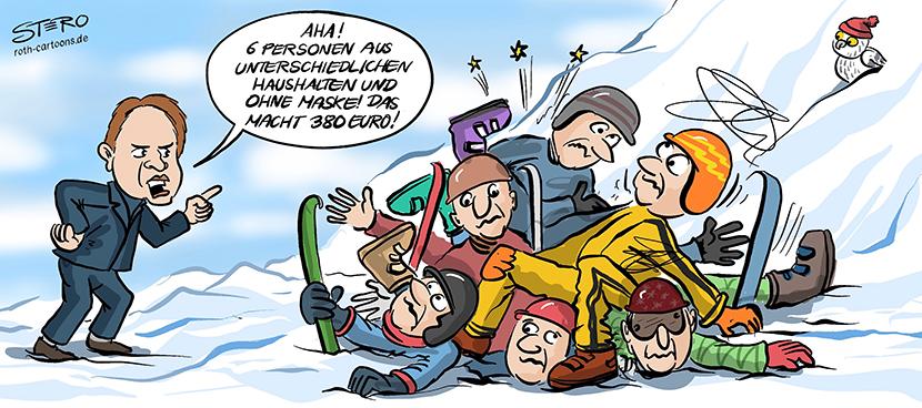 Cartoon-Comic zur Ausgangs und Kontaktsperre: Es dürfen sich nur zwei Personen aus unterschiedlichen Haushalten treffen. Auf einem Skiberg rasseln sechs Skifahrer in einander. Eindeutig ein Coronaverstoß!