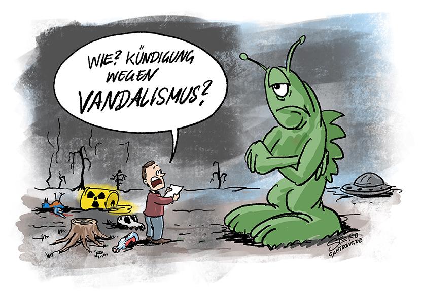 Cartoon zu Klimawandel und Umweltzerstörung. Die Menschheit erhält die Kündung wegen Vandalismus von einem Alien Außerirdischen.