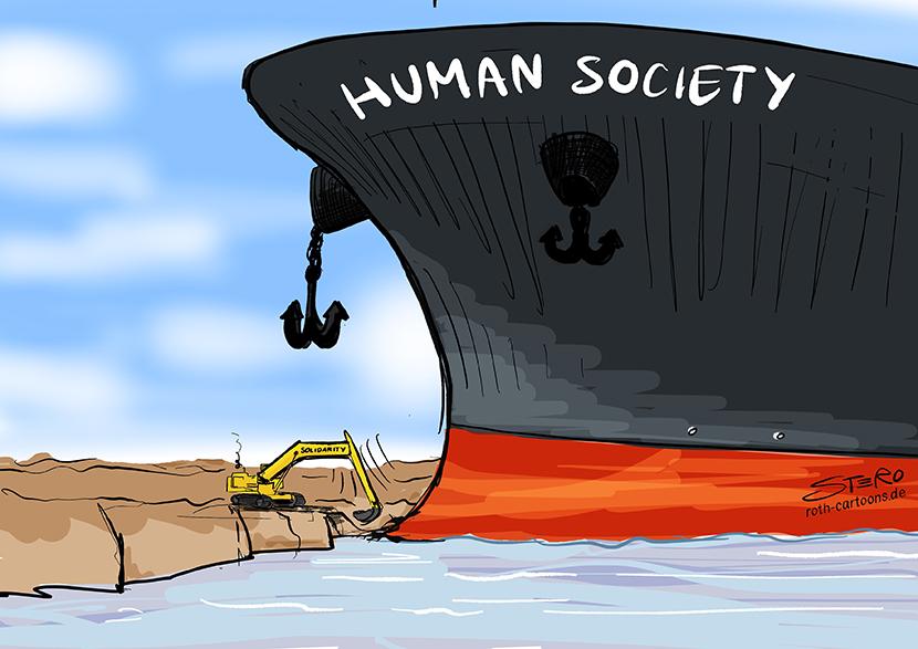 Cartoon zur Havarie: Das Containerschiff Ever Given ist im Suezkanal auf Grund gelaufen und blockiert den Suezkanal. Ein Bagger versucht sie frei zu schaufeln. Das Geschehen als Symbol für die aktuelle Gesellschaft.