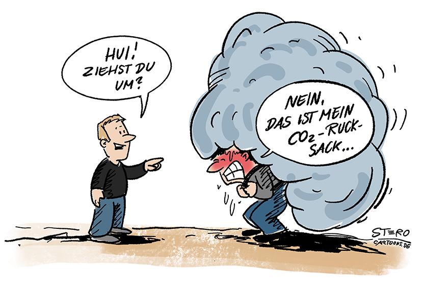 Cartoon zu Klimawandel und CO2: Ein Mann trägt einen riesengroßen CO2-Rucksack.
