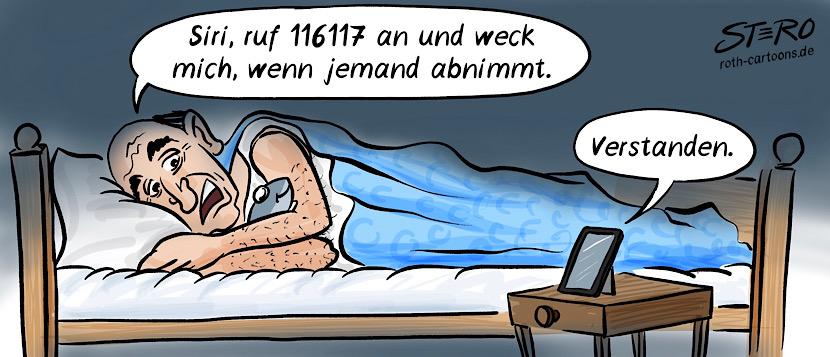 """Cartoon zum Impfchaos bei Corona-Impfterminen: Ein alter Mann liegt im Bett und sagt """"Siri, ruf 116117 an und weck mich, wenn jemand abnimmt."""