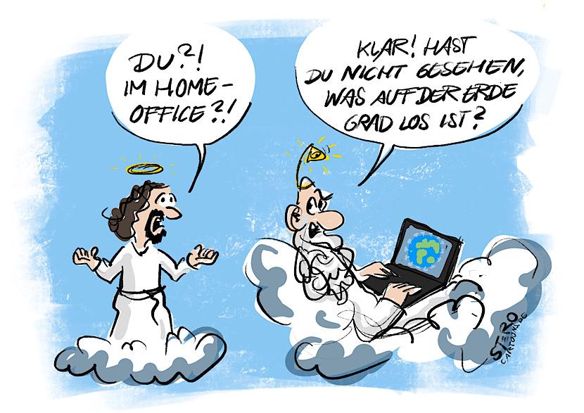 Cartoon-Comic: Gott ist im Home-Office, weil es auf der Erde durch Corona und Covid19 zu gefährlich geworden ist.