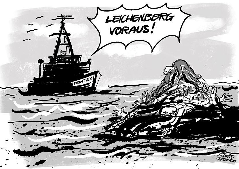 """Cartoon-Comic- Illustration zur Seenotrettung im Mittelmeer. Eine Person auf dem Schiff der Grenzschützer Frontex ruft """"Leichenberg voraus"""". Im Wasser treiben ertrunkene Flüchtlinge aus Nordafrika."""