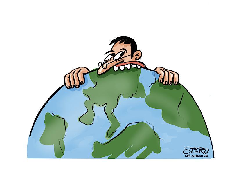 cartoon-illustration: ein mensch frisst die erde auf.