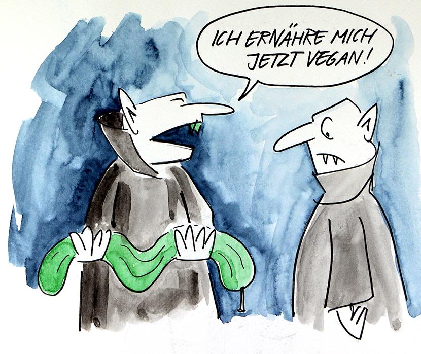Cartoon zu veganer Ernährung: Ein Vampir hat eine ausgesaugte Gurke in den Armen und sagt seinem Kollegen: Ich ernähre mich jetzt vegan.