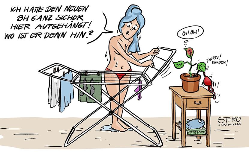 Cartoon zu Cradle to Cradle. Ein Frau steht halbnackt vor einem Wäscheständer und sucht ihren Bio-BH. Die Pflanze hat ihn längst kompostiert.