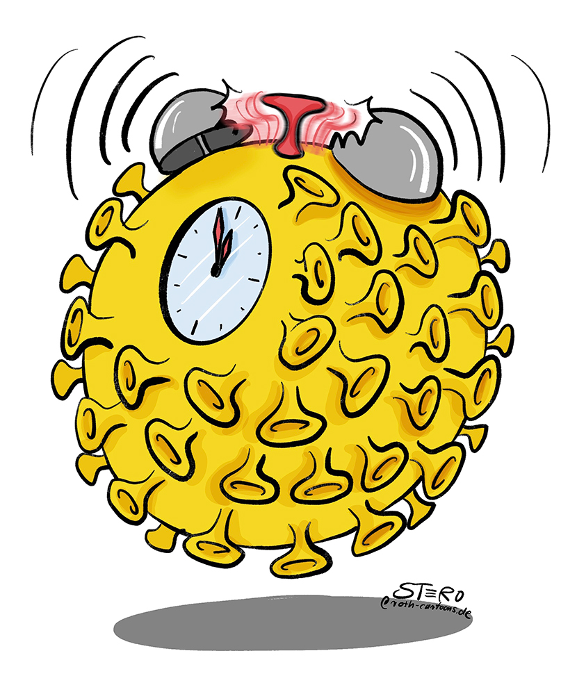 Cartoon-illustration: der Coronavirus als Wecker.