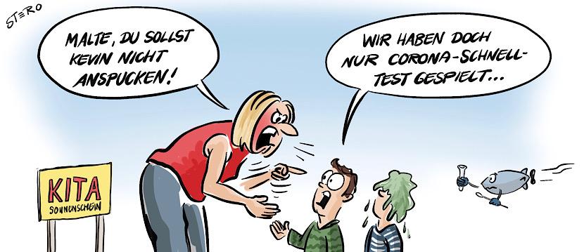 Cartoon zu Coronaschnelltest ind Kitas: Ein Betreuerin schimpft die Kinder, weil sie Coronaschnelltest gespielt haben.