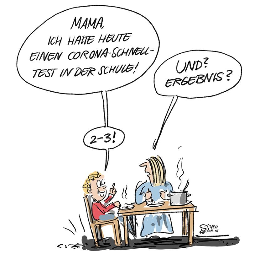 Cartoon zu Coronaschnelltests in der Schule: Ein Kind erzählt beim Mittagessen, dass es einen Corona-Schnelltest in der Schule gemacht hat.