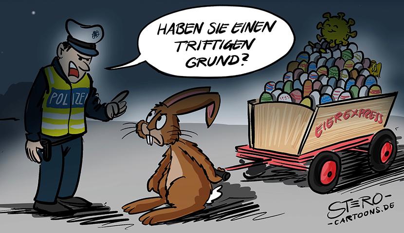 Cartoon zur Ausgangssperre an Ostern: Der Osterhase wird nachts von der Polizei kontrolliert: Haben Sie einen triftigen Grund?